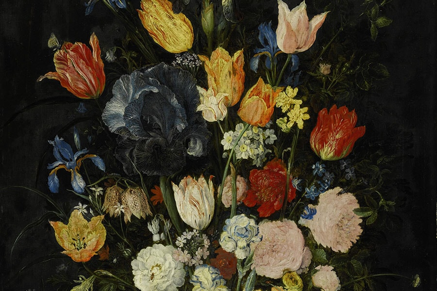 Jan Brueghel The Elder, Still Life of Flowers in a Stoneware Vase, c.1610